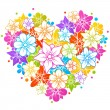 Colorful floral heart — Stock Vector