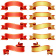 Red and golden banners set - Stok Vektör