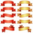 Red and golden banners set - Image vectorielle