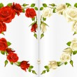 Red and white Rose frame in the shape of heart — ストックベクタ