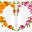 Rose frame in the shape of heart - Stock Vector