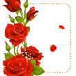 Vector red rose and pearls frame. Design element. — Vettoriali Stock
