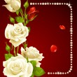 Vector white rose and pearls frame. Design element. — Vector de stock