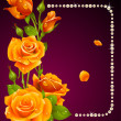 Vector rose and pearls frame. Design element. — 图库矢量图片