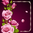Vector rose and pearls frame. Design element. - Imagens vectoriais em stock