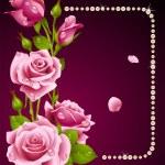 vektor ros och pärlor ram. designelement — Stockvektor