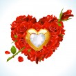 Vector de stock : Red Roses and golden jewel in the shape of heart with arrow