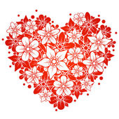 Red floral heart — Vector de stock