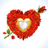 Rosas vermelhas e ouro jóia em forma de coração com seta — Vetor de Stock