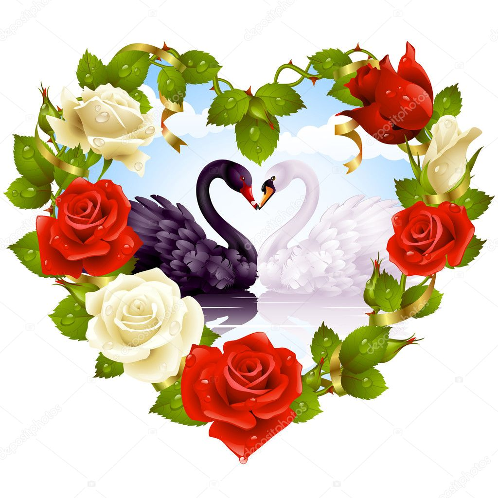Red Rose frame in the shape of heart and couple swans — Stock Vector #4102329