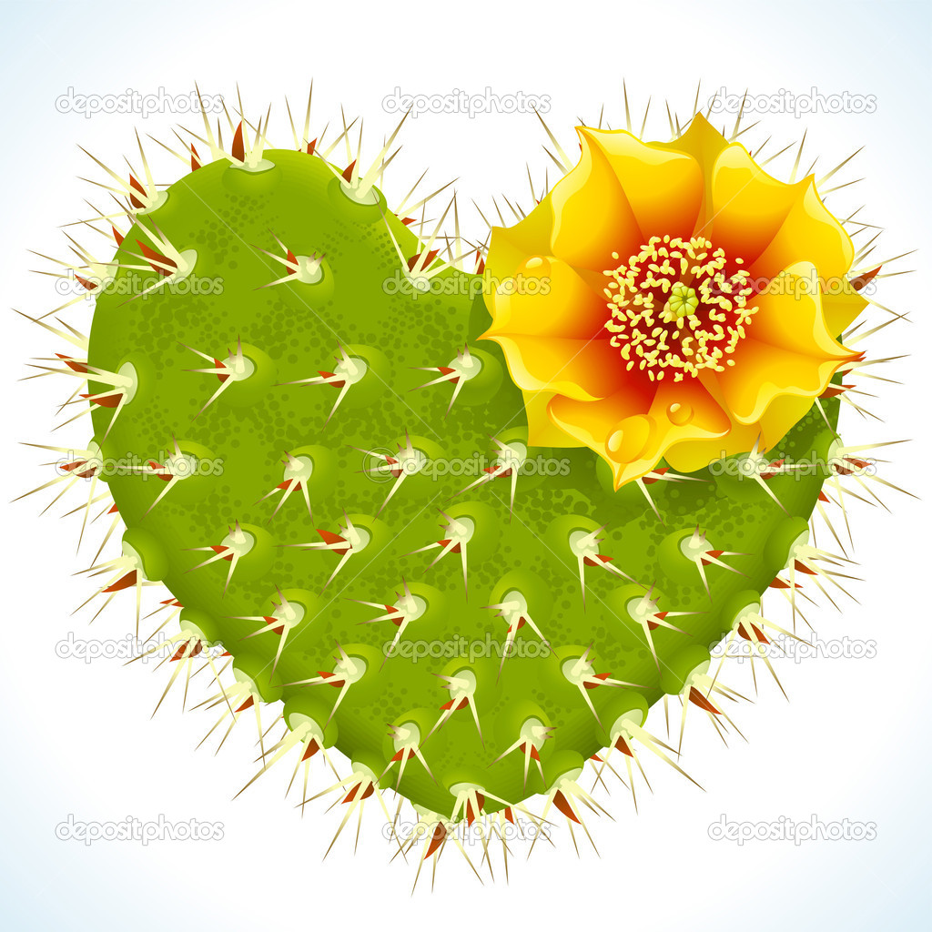 Vector thorny cactus in the shape of heart and yellow flower  Stock Vector #4102356