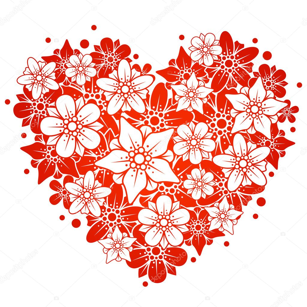 Red floral heart  Stock Vector #4102391