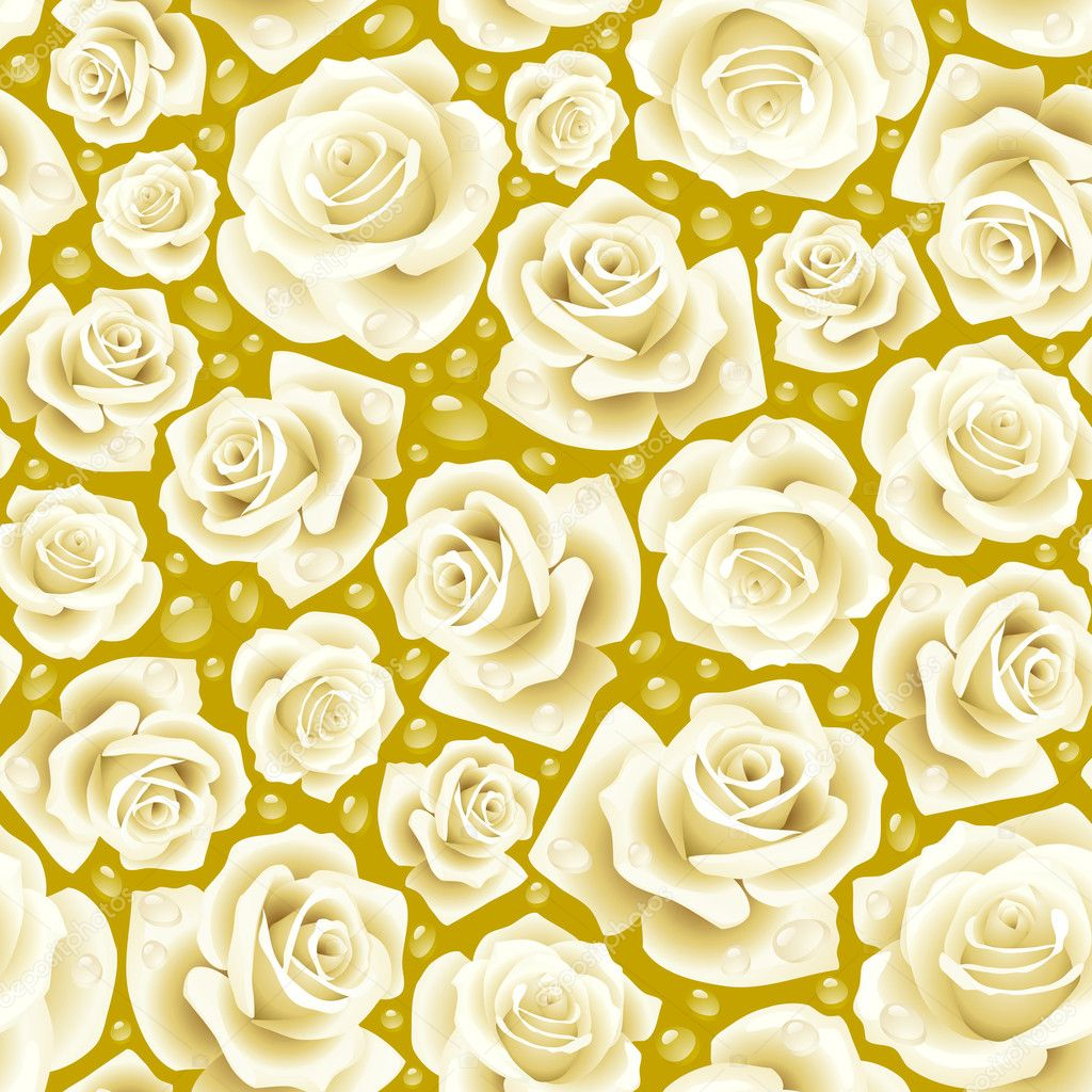 Vector white Rose seamless background 07 — Grafika wektorowa #4102445