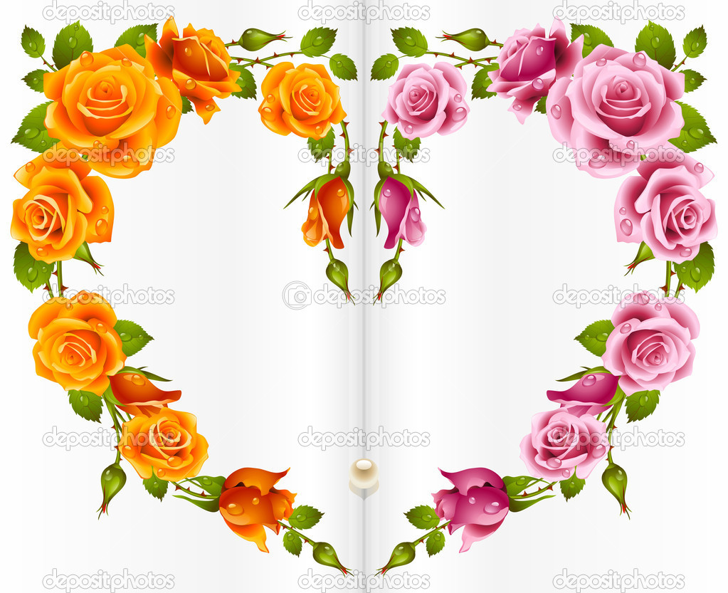 Rose frame in the shape of heart  Stock Vector #4102448