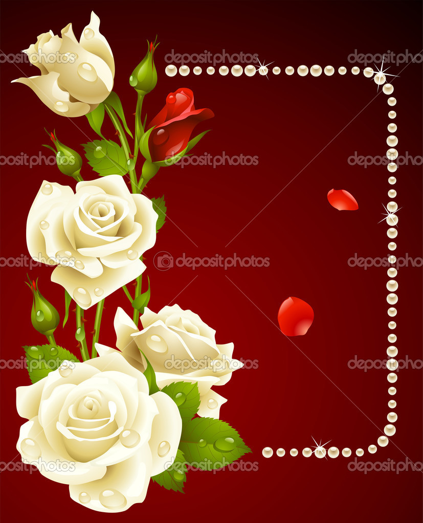 Vector white rose and pearls frame. Design element.  Imagens vectoriais em stock #4102450