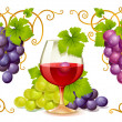 Stock Vector: Grape elements, corners and wine glass