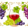 Grape elements, corners and wine glass - Stock Vector