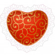 Red heart with lace — Stock Vector
