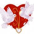 dos palomas blancas y corazón de oro — Vector de stock