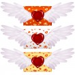 Love letter with wings and wax seal in the shape of heart — Imagens vectoriais em stock