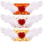 lettera d'amore con le ali e il sigillo di cera a forma di cuore — Vettoriale Stock