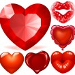 Vector set of Red Hearts — Imagen vectorial