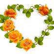 Framework from orange roses in the shape of heart - Stock Vector