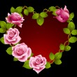 Framework from pink roses in the shape of heart - Stock Vector