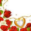 Postcard with roses, pearls and medallion in the shape of heart — Imagen vectorial