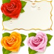 ストックベクタ: Greeting card with rose in the shape of heart