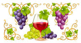 Grape elements, corners and wine glass — Stock Vector