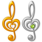 Treble clef in the shape of heart — Stock Vector