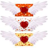 Liefdesbrief met vleugels en lakzegel in de vorm van hart — Stockvector