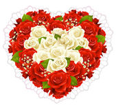 Bunch roses in the shape of heart — Stock Vector