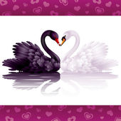 Two graceful swans in love: black-and-white heart — Stock Vector