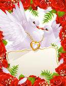 Greeting card with doves — Stock Vector