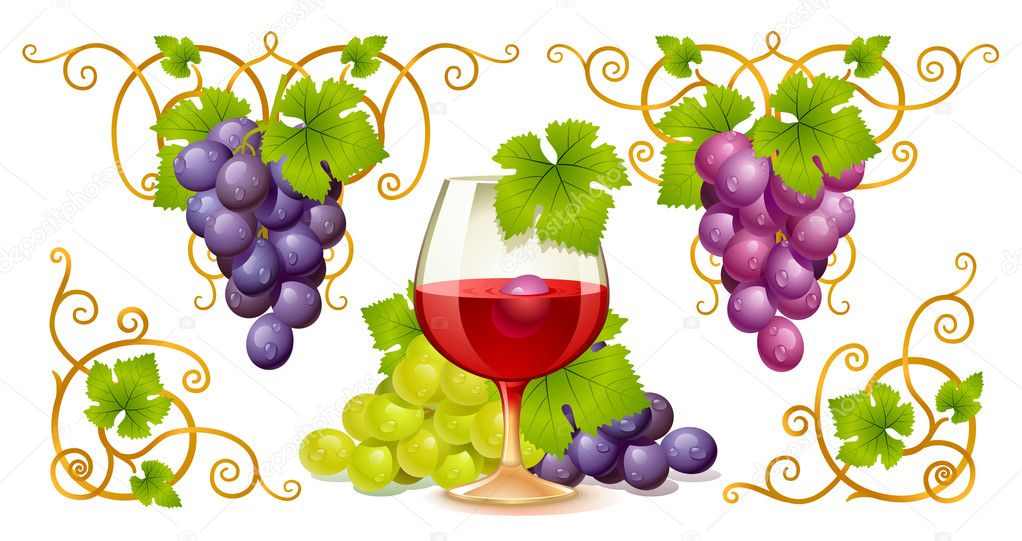 Grape elements, corners and wine glass — Stock vektor #4208854
