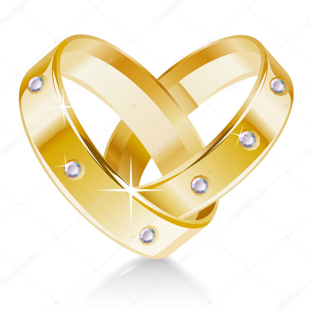 Two wedding rings shaped heart  Stock Vector #4209023