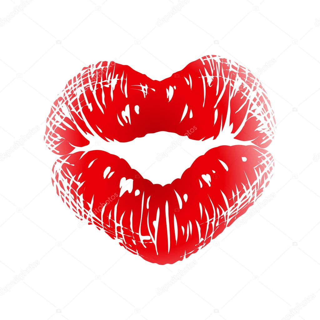 Kiss print in the shape of heart — Stock Vector #4209137