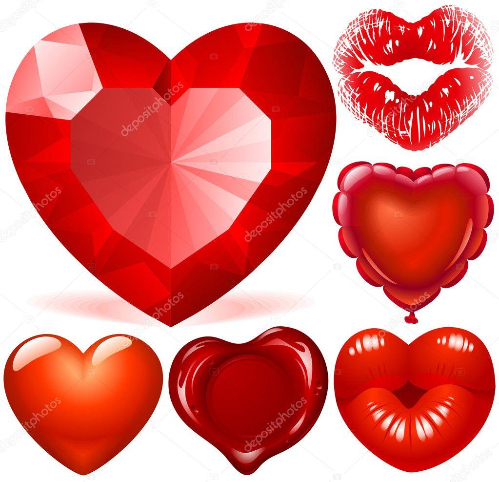 Set vettoriale di cuori rossi vettoriali stock d e n i for Immagini di cuori rossi