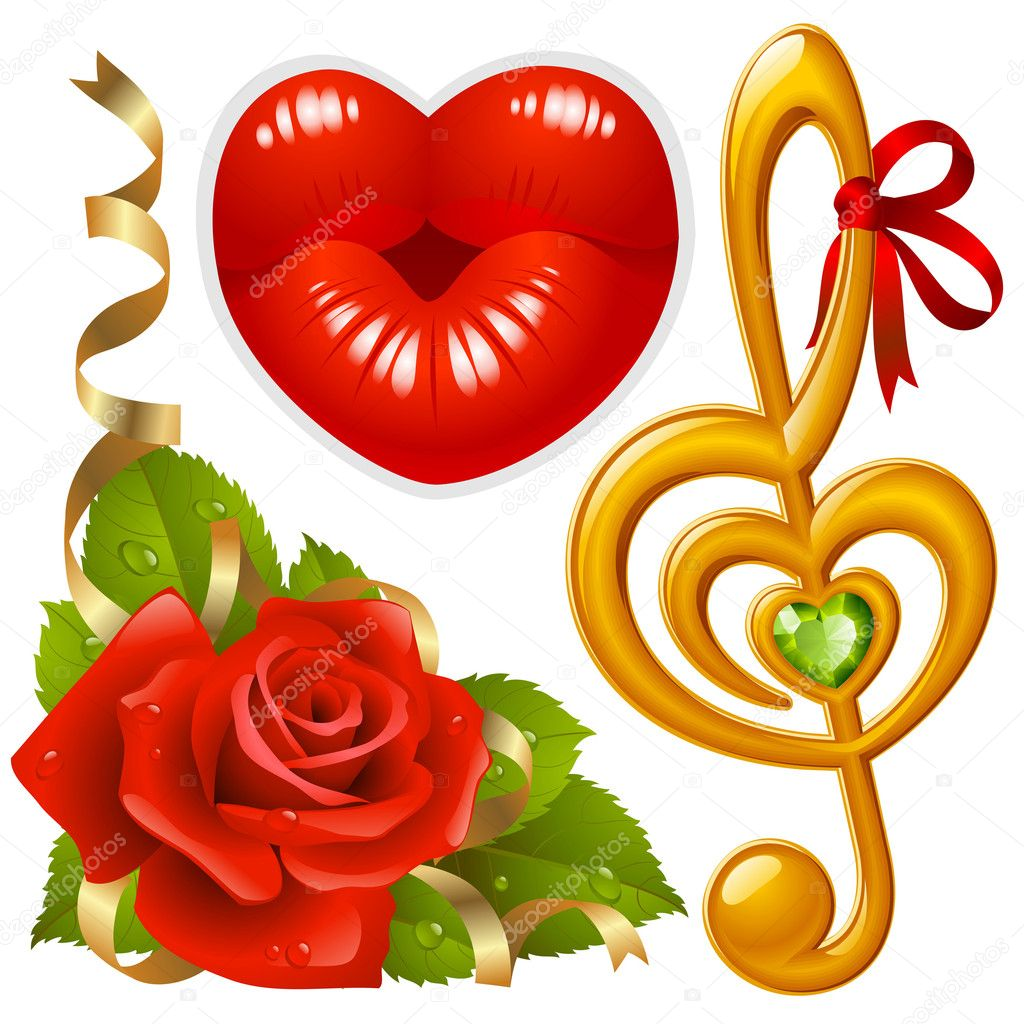 Vector set of Love: corner with red rose, femail lips in the shape of heart and golden Treble clef — Grafika wektorowa #4209235