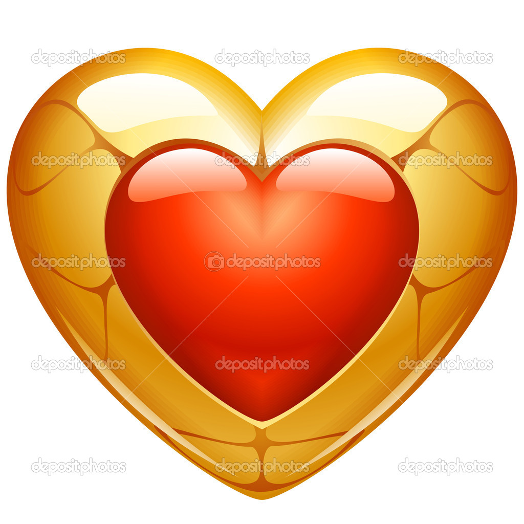 Golden heart — Stock Vector #4209244