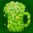 Vector de stock : Clover glade in the shape of beer mug