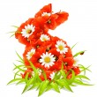 Vector spring flowers in the shape of Easter Rabbit - Stock Vector
