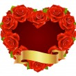 Vector red Rose Frame in the shape of heart — Stock Vector