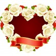 Vector white Rose Frame in the shape of heart — Stock Vector