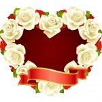 Vector white Rose Frame in the shape of heart — Stock Vector