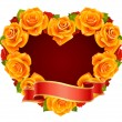 Vector orange Rose Frame in the shape of heart — Stock Vector
