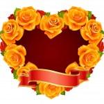 Vector orange Rose Frame in the shape of heart — Stock Vector