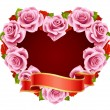 Vector pink Rose Frame in the shape of heart — Векторная иллюстрация
